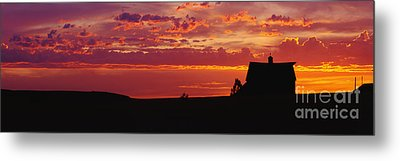 Farm Sunset Metal Print by Joe Sohm and ChromoSohm and Photo Researchers