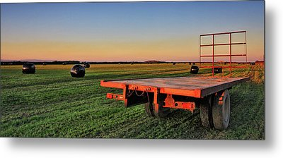 Farm Trailer With Bales At Sunset Metal Print
