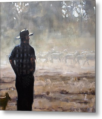 Farmer And Sheep Metal Print by Gaye White