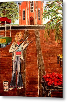 Farmer's Market Fiddler Metal Print