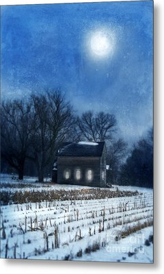 Farmhouse Under Full Moon In Winter Metal Print by Jill Battaglia