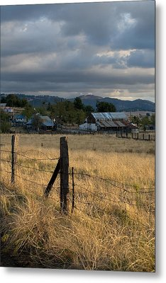 Farmland Fence Post Metal Print by Peter Tellone