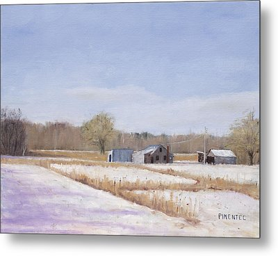 Farmland In Winter  Concord Massachusetts Metal Print by Mark Pimentel