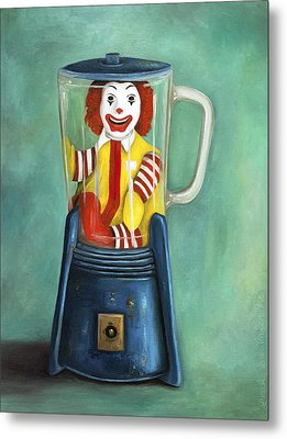 Fast Food Nightmare 2 The Happy Meal Metal Print by Leah Saulnier The Painting Maniac