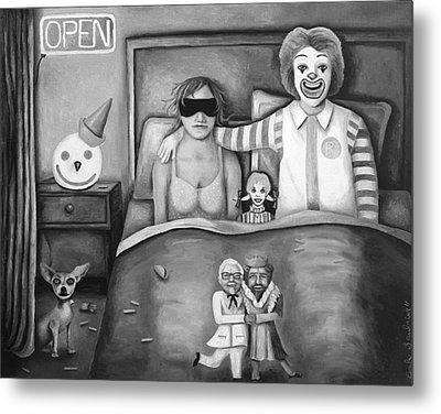 Fast Food Nightmare Bw Metal Print by Leah Saulnier The Painting Maniac