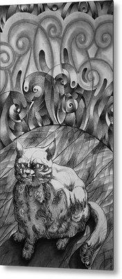 Fat Cat Fur Ball Metal Print