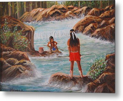 Father And Son Fishing Day Metal Print by Janna Columbus