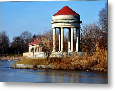 Fdr Park Gazebo And Boathouse Metal Print by Bill Cannon