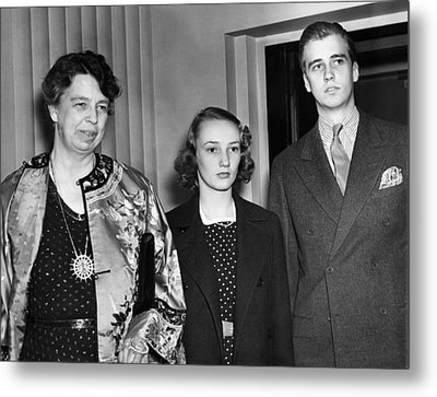 Fdr Presidency. From Left First Lady Metal Print by Everett
