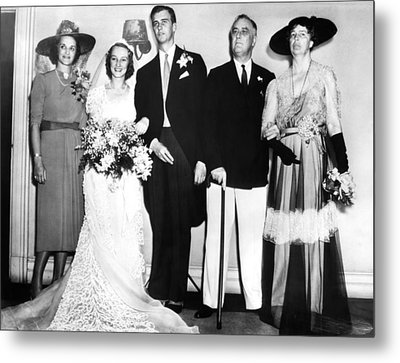 Fdr Presidency. From Left Francis Metal Print by Everett