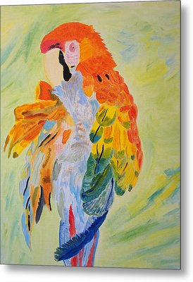 Metal Print featuring the painting Feathers Showing God's Painting by Meryl Goudey