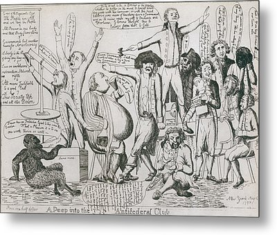 Federalist Cartoon Of 1793 Shows Metal Print by Everett