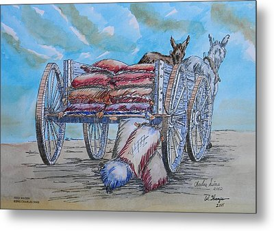 Feed Wagon Watercolor Metal Print by Charles Sims and Warren Thompson