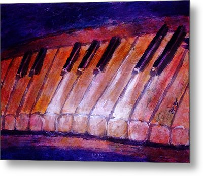 Feeling The Blues On Piano In Magenta Orange Red In D Major With Black And White Keys Of Music Metal Print by M Zimmerman MendyZ