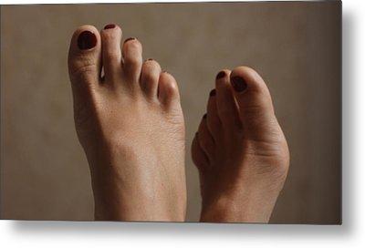 Feet Of A Happy Woman After Coupling Metal Print by Svetlana  Sokolova