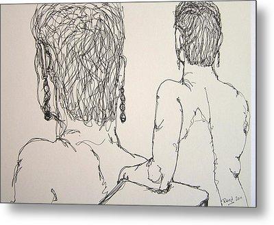 Female Nude Beside Herself Metal Print