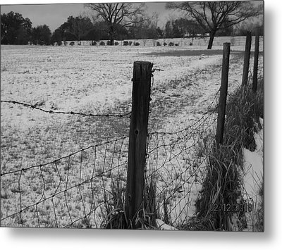 Fence And Snow Metal Print by Floyd Smith