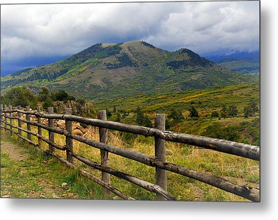 Fence Row And Mountains Metal Print by Marty Koch
