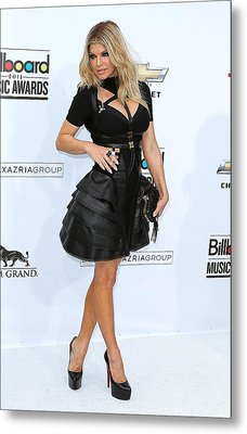 Fergie Wearing A Herve Leger By Max Metal Print by Everett