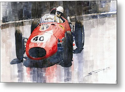 Ferrari Dino 246 F1 Monaco Gp 1958 Wolfgang Von Trips Metal Print by Yuriy  Shevchuk