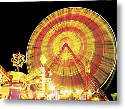 Ferris Wheel And Other Rides, Derry Metal Print by The Irish Image Collection