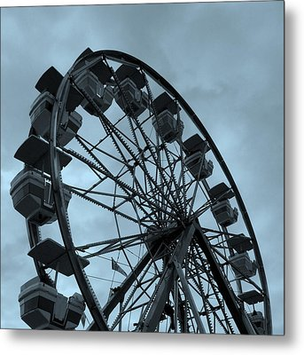Ferris Wheel Blue Sky Metal Print by Ramona Johnston