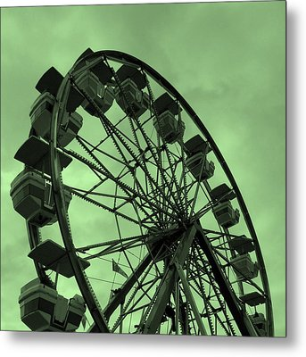 Ferris Wheel Green Sky Metal Print by Ramona Johnston