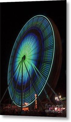 Ferris Wheel Lit Shades Of Green And Blue Metal Print by Darleen Stry