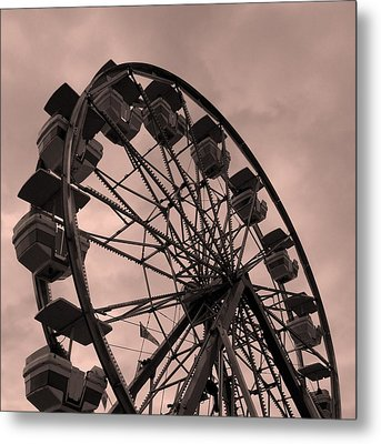 Ferris Wheel Pink Sky Metal Print by Ramona Johnston