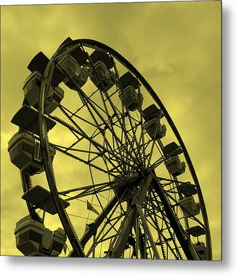 Ferris Wheel Yellow Sky Metal Print by Ramona Johnston