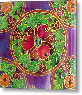Festive Pomegranates In Gold And Vivid Colors Wall Decor In Red Green Purple Branch Leaves Flowers Metal Print