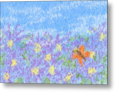 Field Of Asters - Impressionism Metal Print by Heidi Smith