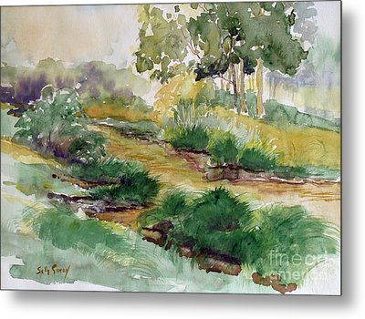 Metal Print featuring the painting Field Of Streams by Sally Simon