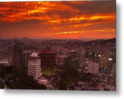 Fiery Seoul Sunset Metal Print by Gabor Pozsgai