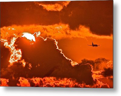 Metal Print featuring the photograph Fiery Skies by Scott Holmes