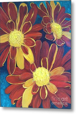 Metal Print featuring the painting Fiesta Daisies by Lucia Grilletto