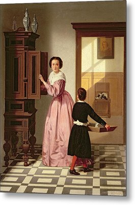 Figures In A Laundryroom Metal Print by Gustaaf Antoon Francois Heyligers