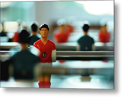 Figurine Of Football Player Metal Print by D.Reichardt