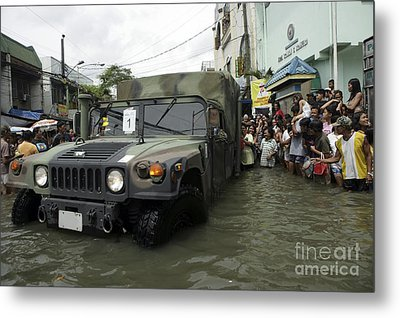 Filipino Citizens Stand In Line Metal Print by Stocktrek Images