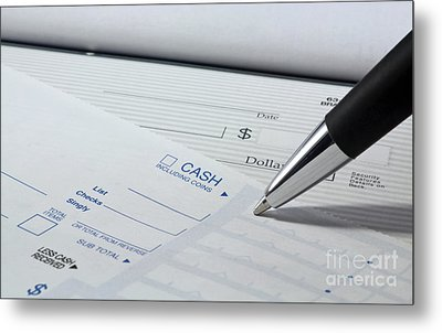 Filling Out Deposit Slip Metal Print by Blink Images