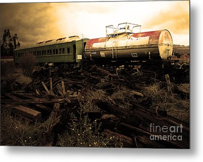 Final Stop Express . Sepia . 7d8995 Metal Print by Wingsdomain Art and Photography