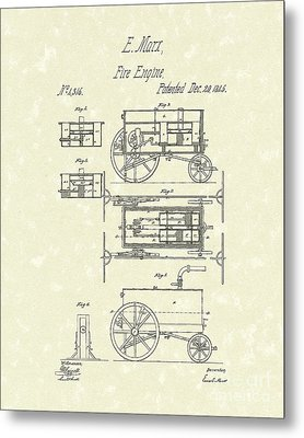 Fire Engine 1845 Patent Art Metal Print