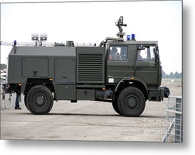 Fire Engine Of The Belgian Army Located Metal Print by Luc De Jaeger