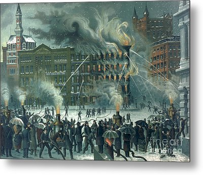Fire In The New York World Building Metal Print by American School