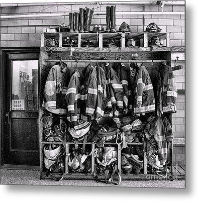Fireman - Jackets Helmets And Boots Metal Print by Paul Ward