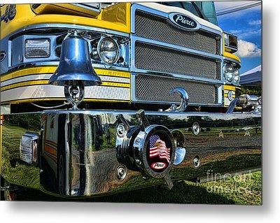 Fireman - Pierce Fire Truck Metal Print by Paul Ward
