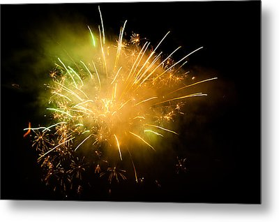 Firework Display At New Year's Eve Metal Print by Olaf Broders