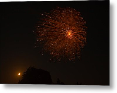 Metal Print featuring the photograph Fireworks And Wildfire Moon by Tom Gort