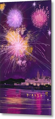 Fireworks In Malta Metal Print by Angss McBride