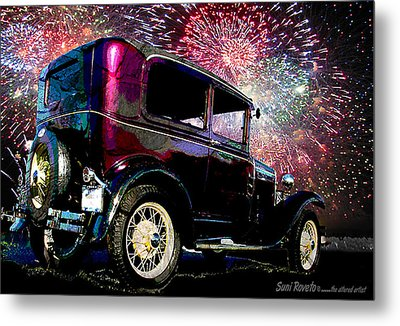 Fireworks In The Ford Metal Print